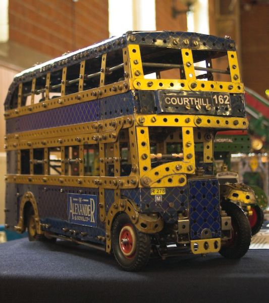 Meccano Vintage model of a double decker London Bus shown at Henley 2007