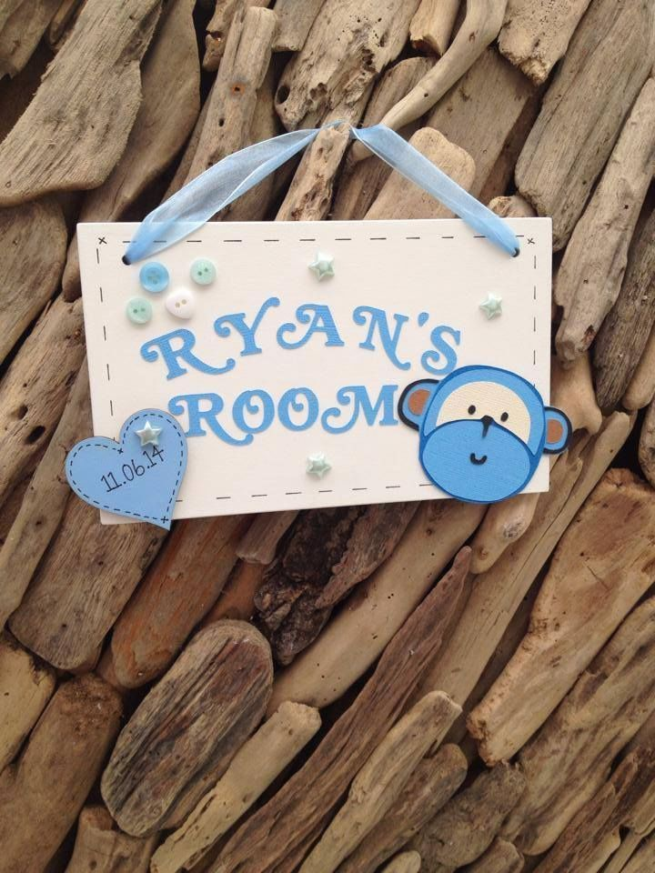 Personalised Childrens Room Sign Monkey New Baby Gift Plaque Sign Handmade