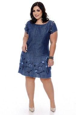 559a165da01c Vestido Jeans Plus Size Anabela | Daluz Plus Size - Loja Online - Daluz Plus  Size
