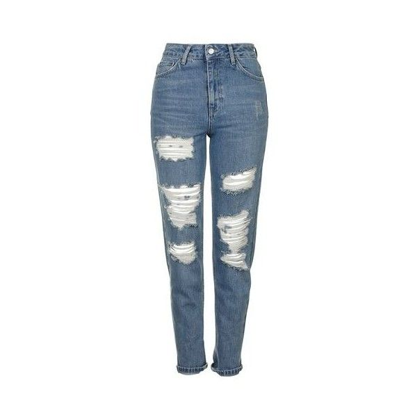 TopShop Moto Blue Super Rip Mom Jeans ($80) ❤ liked on Polyvore featuring jeans, mid blue, cuff jeans, high waisted distressed jeans, high waisted jeans, destroyed jeans and tapered leg jeans