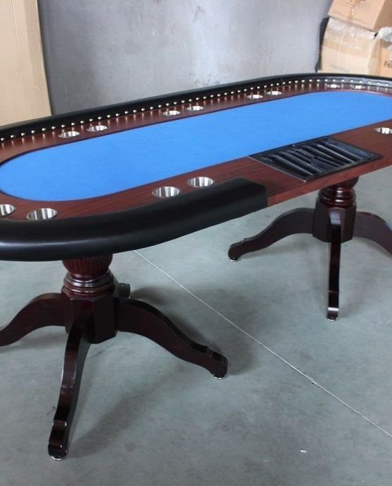 "Deluxe 94"" Solid Wood Texas Hold'em Poker Table    Full-size 10-player casino poker table (Dealer chip tray included) Solid wood legs, pedestal, and table trim  Dimensions: 94L x 44W x 30H inches Casino Grade Foam / Felt – Felt Colors: ""Electric Blue"" or ""Tournament Green"" available"