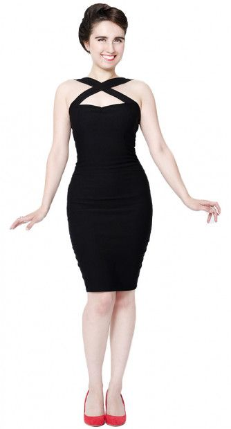 This Vavavoom Pencil Dress will bring a tear to any admirer's eye. This is a killer pencil dress that hugs your curves in all the right places! The crossed straps on the chest adds a unique detail while a slight sweetheart neckline flatters the bust as well as framing them nicely, the figure hugging knee length shirt leads the eye down.