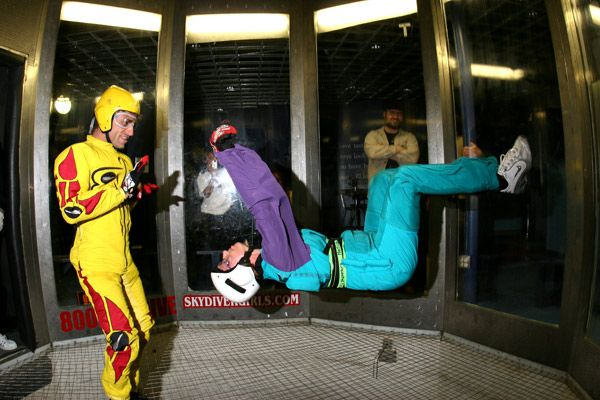 Wind Tunnel Skydiving at Night - Click to Expand!