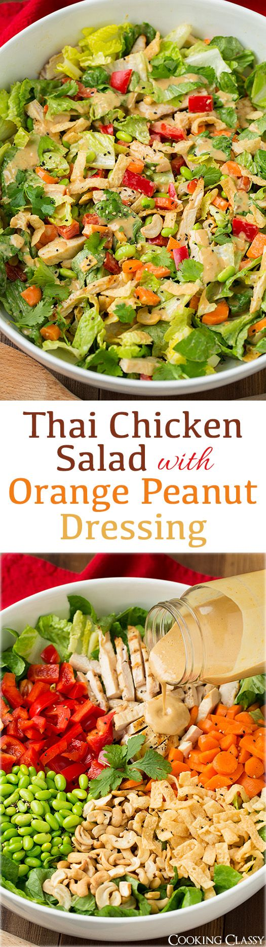 Thai Chicken Salad with Orange Peanut Dressing - this salad was seriously delicious!! I'm going to crave it all the time now! Romaine, grilled chicken, edamame, red bell, carrots, cashews, cilantro and wonton strips with an amazing peanut dressing!