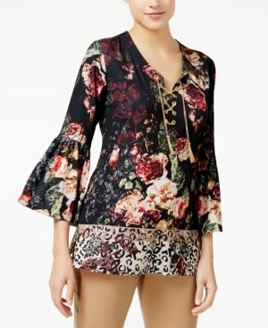 Jm Collection Mixed-Print Lace-Up Tunic, Created for Macy's - Black XXL