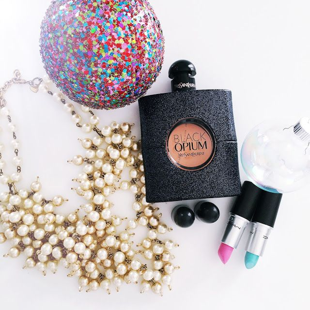 Stocking Stuffer Ideas. Pearl Necklace, Black Opium Perfume, Blue and Pink MAC Lipstick. Details and Links on the blog at wendycorreen.com