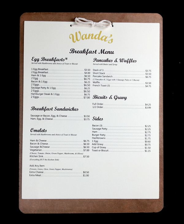 Wanda's Roadside Cafe Menu Redesign by Ashley Morris, via Behance