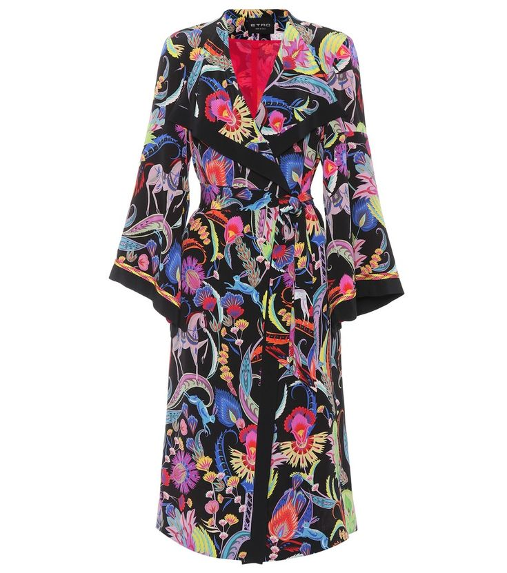 Etro - Printed silk jacket - Vibrantly-coloured flora and fauna bring folkloric character to this whimsical jacket from Etro. Crafted in Italy from silk crêpe, the open-front style has kimono sleeves that enhance the bohemian ethos of the relaxed silhouette. Make yours the hero piece of warm-weather ensembles, styling over jeans and midi skirts alike. seen @ www.mytheresa.com