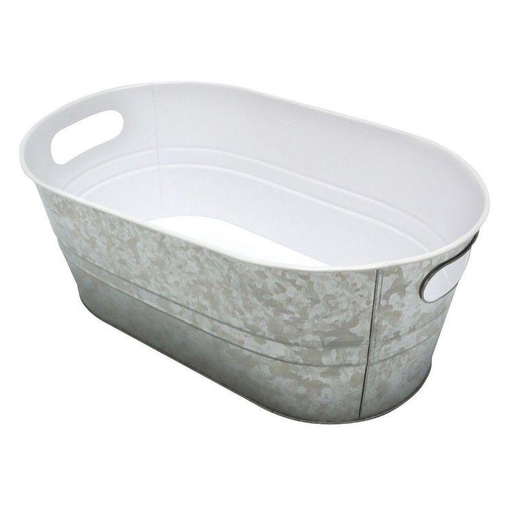 Tabletop Steel Beverage Tub -Silver, Silver