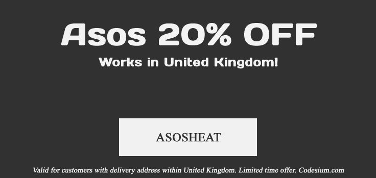 New discount code for Asos UK lovers. Get 20% off with code: ASOSHEAT http://codesium.com/asos-discount-code/
