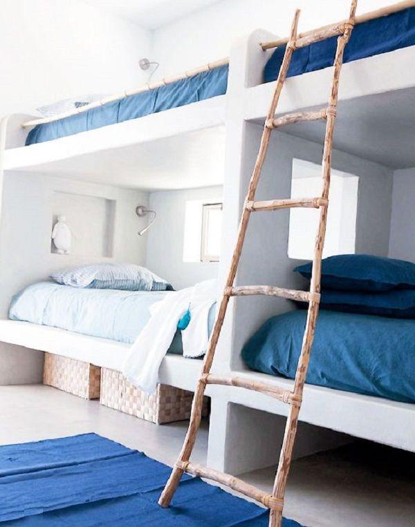 Habitaciones con literas, divertida solución para compartir dormitorio.