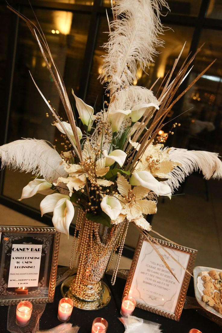 Best 25 art deco centerpiece ideas on pinterest for Art deco wedding decoration ideas