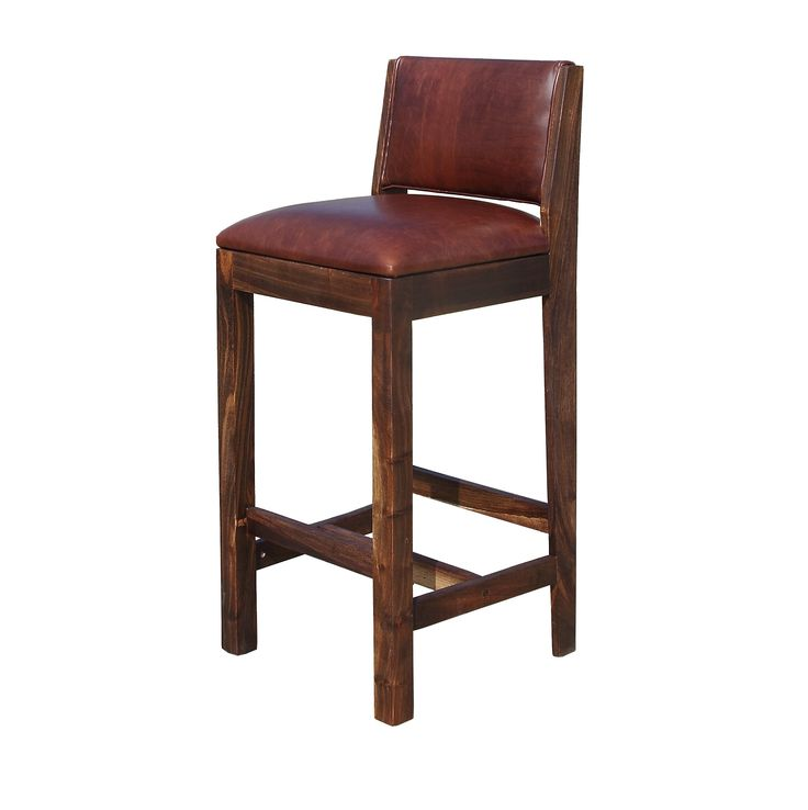 Designed in all brown kiaat and tan Hennessy Leather this bar stool was designed to complement an existing walnut bar. A set of eight and they look spectacular. Now a standard item.