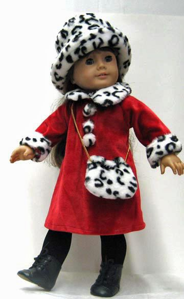 Red Winter Dress Animal Print Trim + Hat & Purse for American Girl Doll Clothes #Generic