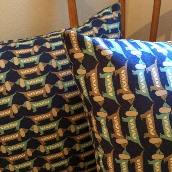 Cute Sausage Dog Print Cushion // Blue Envelope by StampAndStitch