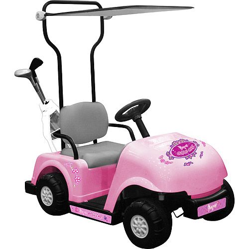 Pink golf car power wheels for kids