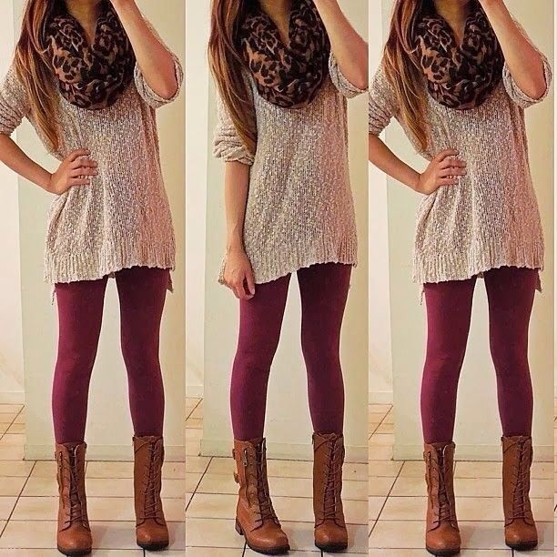 the maroon skinneys + the oversized sweater and boots = my fav