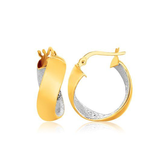14K Two-Tone Gold Twist Hoop Earrings with Hammered Accenting