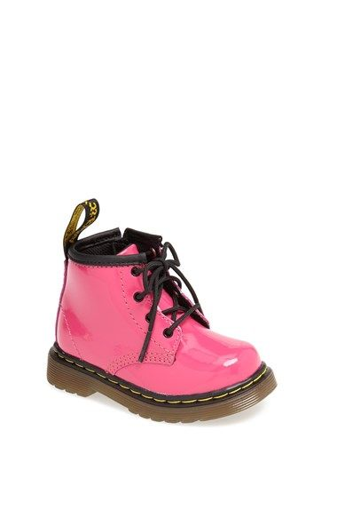 OMG! So stinking cute! Dr. Martens 'Brooklee' Patent Leather Boot (Baby & Walker) available at #Nordstrom