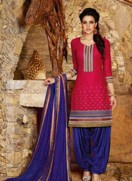 Designer Indian Punjabi Patiala salwar kameez in Magenta D15450
