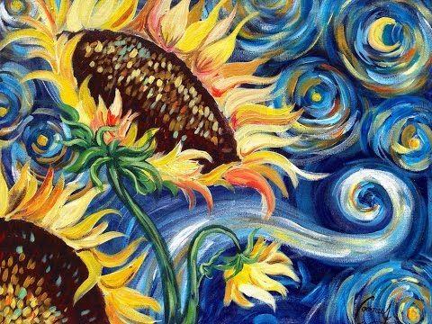 Sunflowers Tutorial | Vincent Van Gogh Starry Night | Beginner Acrylic Painting - YouTube