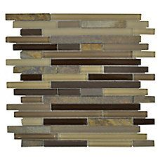 Elegant Trail Pencil 12  Inches  x 12  Inches  Glass Slate Mosaic Wall Tile