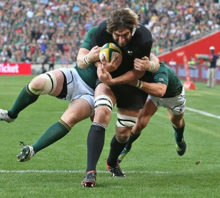 New Zealand's Sam Whitelock powers towards the line during his side's Rugby Championship clash with South Africa in Johannesburg.