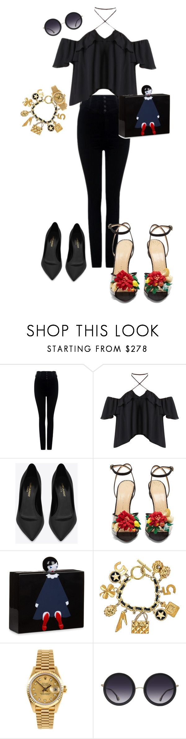 """""""Untitled #76"""" by itsmisstiff ❤ liked on Polyvore featuring Citizens of Humanity, Yves Saint Laurent, Charlotte Olympia, Lulu Guinness, Chanel, Rolex, Alice + Olivia, men's fashion and menswear"""