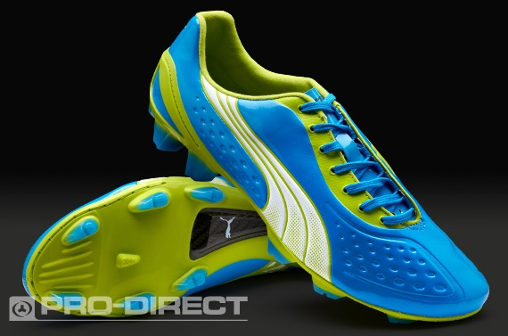 Puma Football Boots - Puma V1.11 SL FG - Firm Ground - Soccer Cleats - Dresden Blue-White-Lime Punch