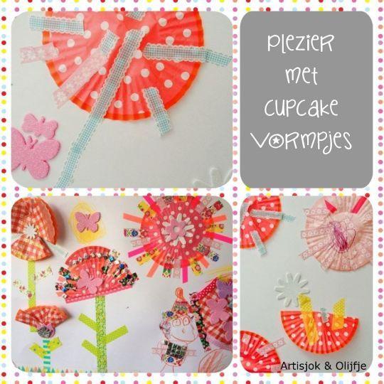 Gebruik papieren cupcakevormpjes en gekleurde tape om kinderen te laten experimenteren met ronde en rechte vormen. Van Artisjok & Olijfje.