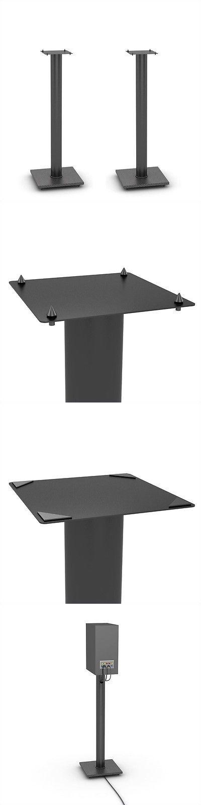 Speaker Mounts and Stands: Atlantic Inc. Adjustable Bookshelf Speaker Stand Stands In Black BUY IT NOW ONLY: $58.15
