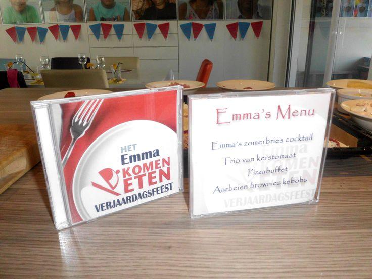 Onze dochter Emma haar 11de verjaardagsfeestje. Thema: Komen eten! Onderleggers - Cd'tje als menu + ook meteen het uitdeelpakje met alle foto's en filmpjes van tijdens het feestje. we vonden het zeer geslaagd en de meiden ook!