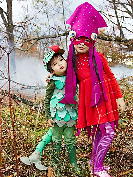 Siblings or friends can dress as this easy oceanic pair: a sweet squid and friendly serpent. Both start with solid-color clothes and are accented with homemade aquatic accessories. Click for instructions to make them at home!