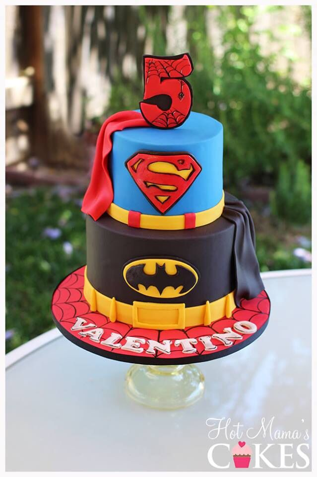Super hero cake featuring Superman, Batman and Spider-Man :)  Www.hotmamascakes.net @Staci Kiser Rhodes this one looks great and only two layers as well? check the other cake pins from this morning on my Cake board in Pinterest.