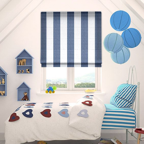 Amelie Delft Blue Roman Blind from Blinds 2go