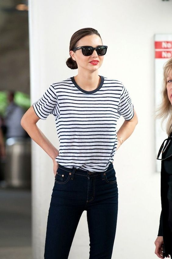Classic look. When in doubt go for a striped shirt, blue jeans, and a red lip. Try Ilia Lipstick Crayon in 99 red balloons for easy application and lasting staying power