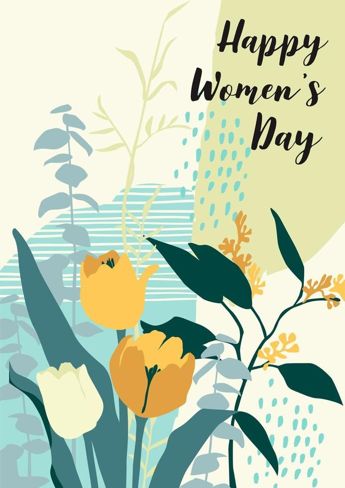 International Women S Day Card With Flowers In 2021 International Womens Day Poster International Womens Day Ladies Day