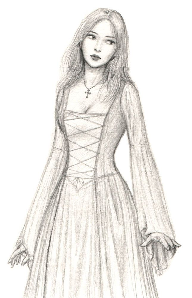 Neckline Drawing : Medieval maid by dashinvaine on deviantart i like the