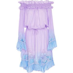 Amen Couture Embroidered Silk Tie Dye Dress