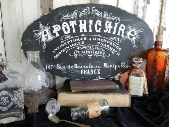 APOTHECAIRE Apothecary pharmacy chalk french by FrenchVelvetHorses, $48.00
