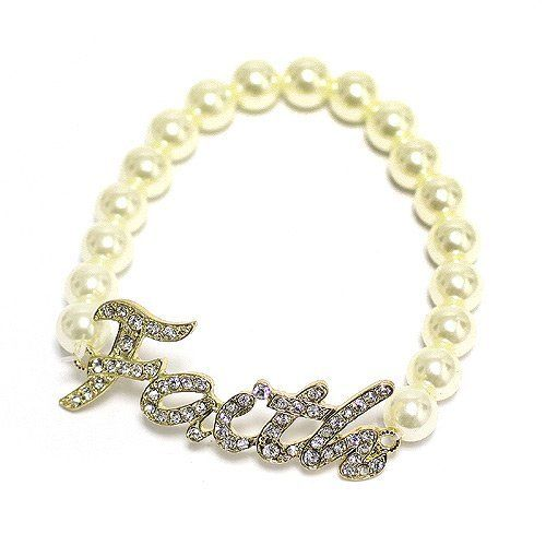 Faith Bracelet; Cream Pearls; Gold Metal With Clear Rhinestones; Stretches To Fit; Eileen's Collection. $16.99. Save 43% Off!