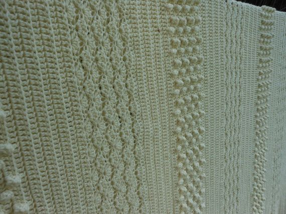 Hand Knit Bed Coverlet Heavy Ivory Off White Aran by PatziPlace