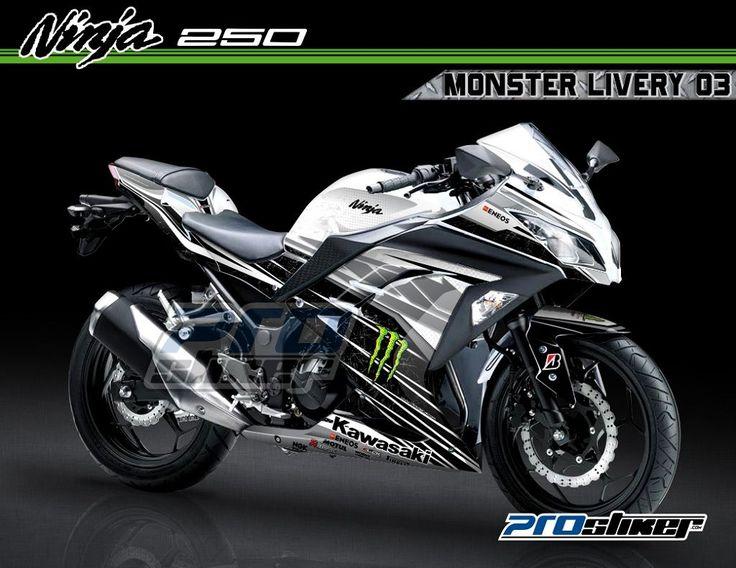 Decal Ninja 250 FI Warna Putih Motif Moto GP Replica Monster Livery Hitam 03