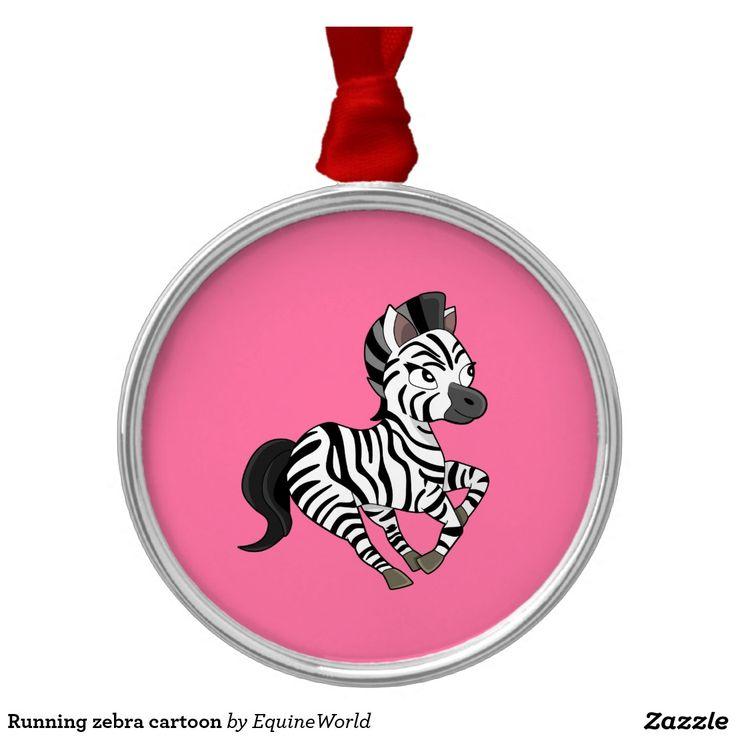 Running zebra cartoon round metal christmas ornament