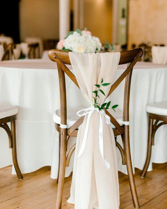Beige Chiffon Chair Sash W White Ribbon Tie Wedding Chair Sashes