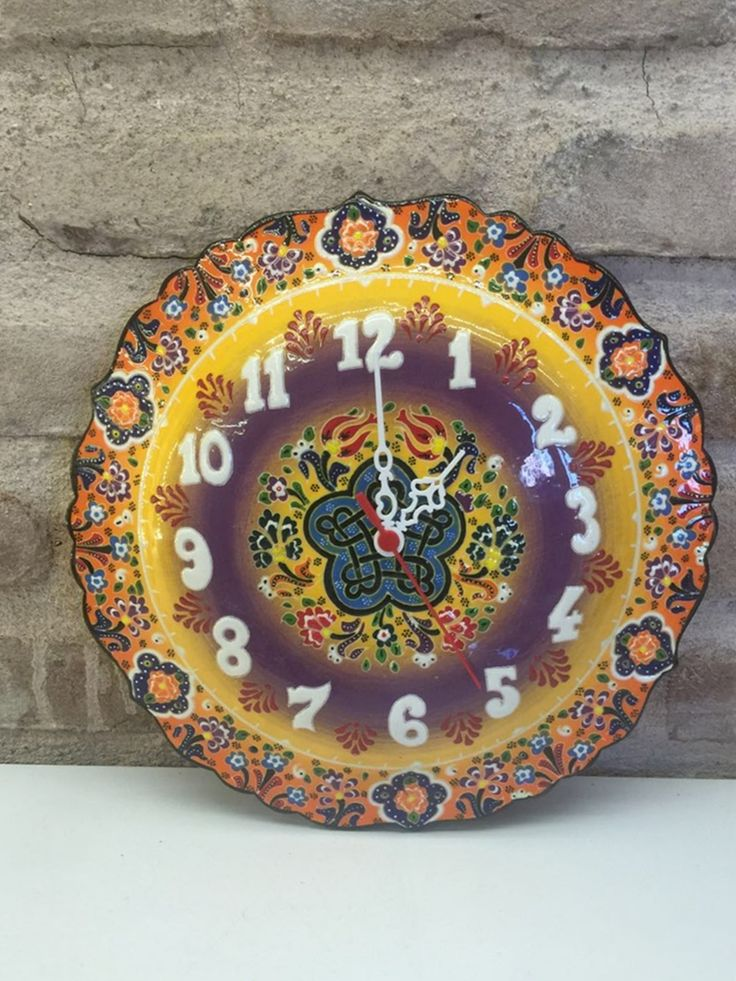 TURKISH CERAMIC WALL CLOCK, YELLOW
