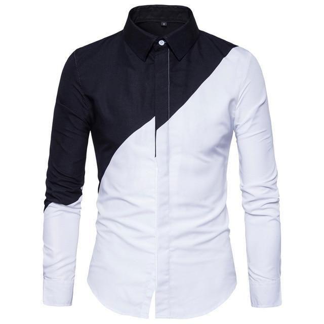 Hajotrawa Mens Autumn Long Sleeve Print Lapel Neck Button Down Shirts
