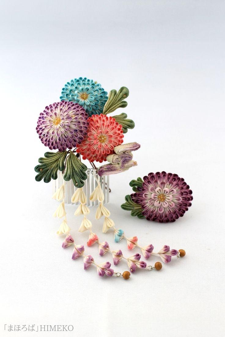 つまみ細工・簪&帯留「まほろば」/Kanzashi ● silk art HIMEKO facebookpage https://ja-jp.facebook.com/himekosilkart ● http://www.a-yarn.com/