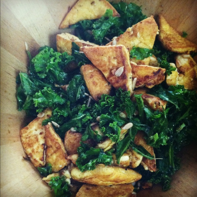 Massaged kale salad with curried tofu & sunflower seeds. Balsamic ...