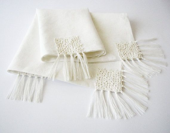 Linen table runner OOAK white/ivory color with by LinenBloomShop